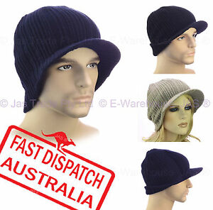44e24c57a Details about Men Boy Ladies Ribbed Ear Wamer Sports Outdoor Beanie Hat  Knitted Brim Visor Cap
