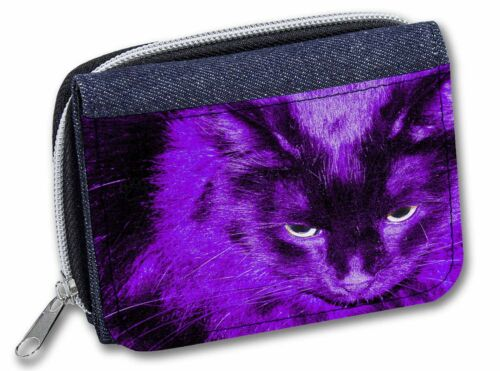 AC-301JW Black Cat in Pink Purple Night Lights Girls//Ladies Denim Purse Wallet