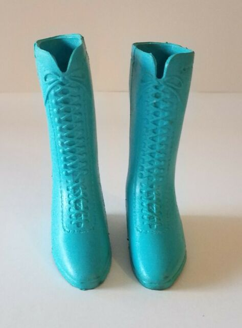 1 Pair Original Vintage Teal Blue Boots for Ideal Crissy Doll Family excellent !