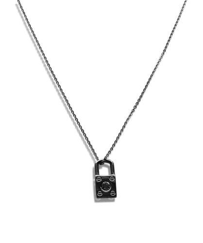 Edelstahl Halskette 40-75cm mit Schloss Anhänger 2,6cm in Silber 1165e