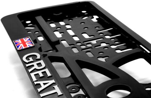 2x Nero NUMERO TARGA CIRCONDA Titolare Cromo Gran Bretagna GEL Bandiera Union Jack