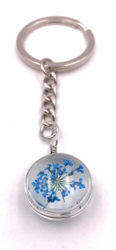 Schlüsselanhänger Blaue Blumen Blüten im Kreis 3D-Optik silber Anhänger Keychain