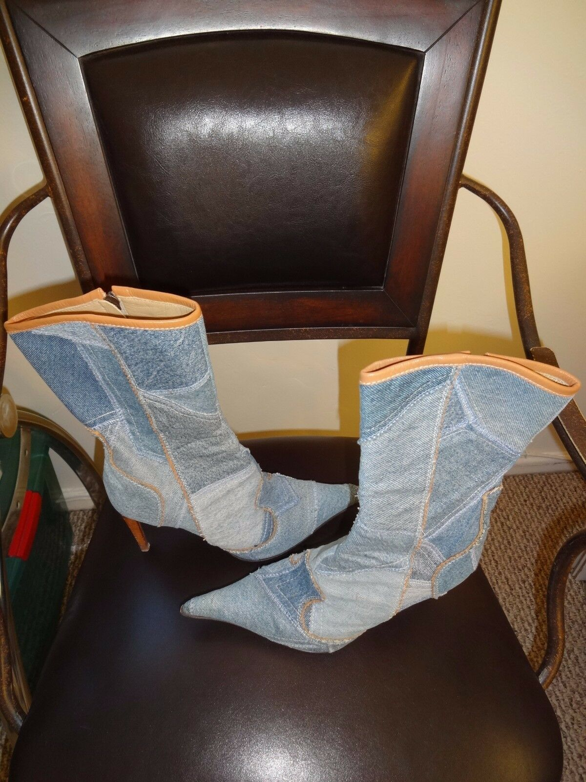 NWOB LE SILLA ITALY DENIM PATCHWORK BOOTS BOOTS BOOTS 37 6df1cb