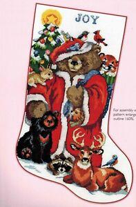 Woodland-Forest-Teddy-Bear-Santa-Christmas-Stocking-Cross-Stitch-Chart