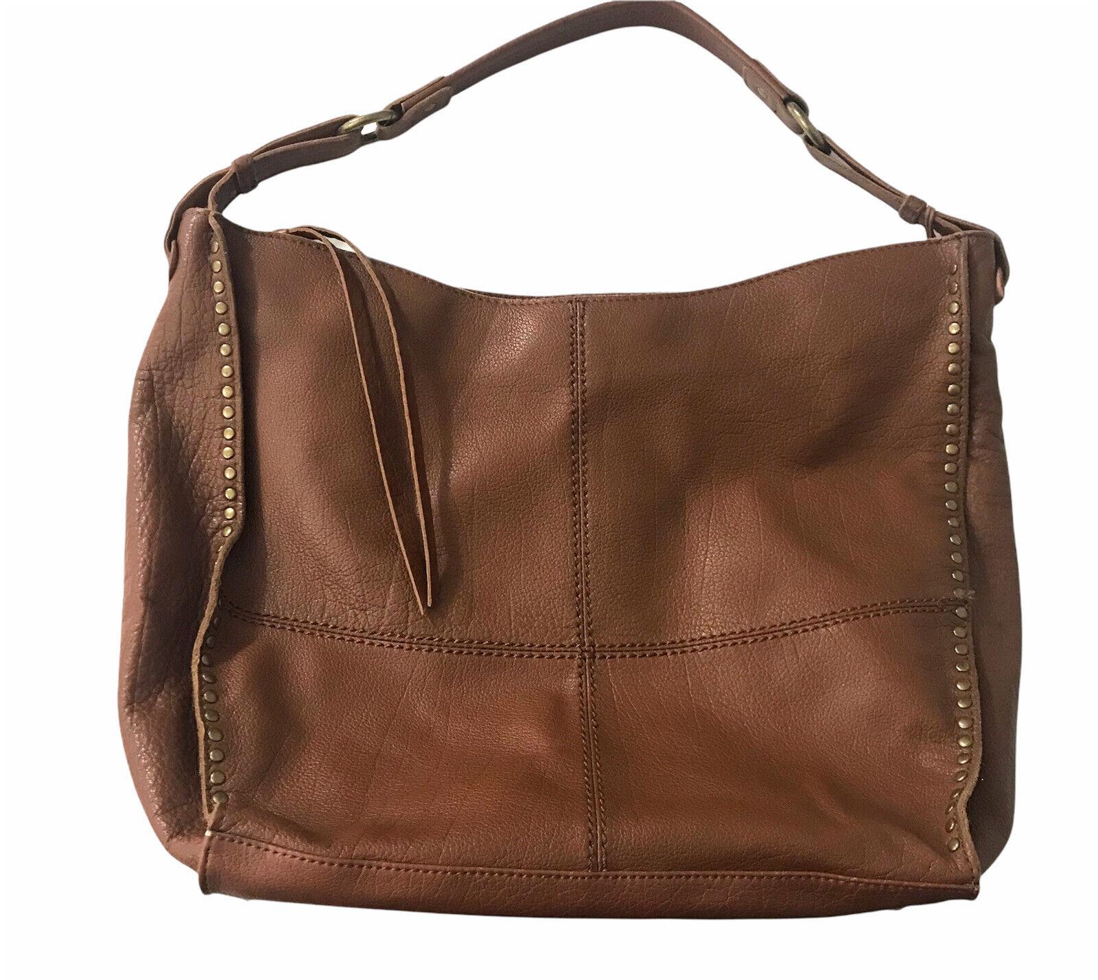 The Sak Hobo Shoulder Bag Brown Leather Studded