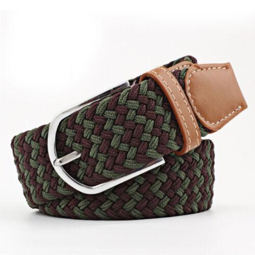 Men Women/'s Braided Leather Woven Canvas Elastic Pin Buckle Waist Belt Waistband