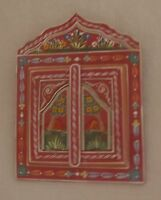 Beautifully Hand Painted Mirror With Doors from Morocco * DARK PINK *