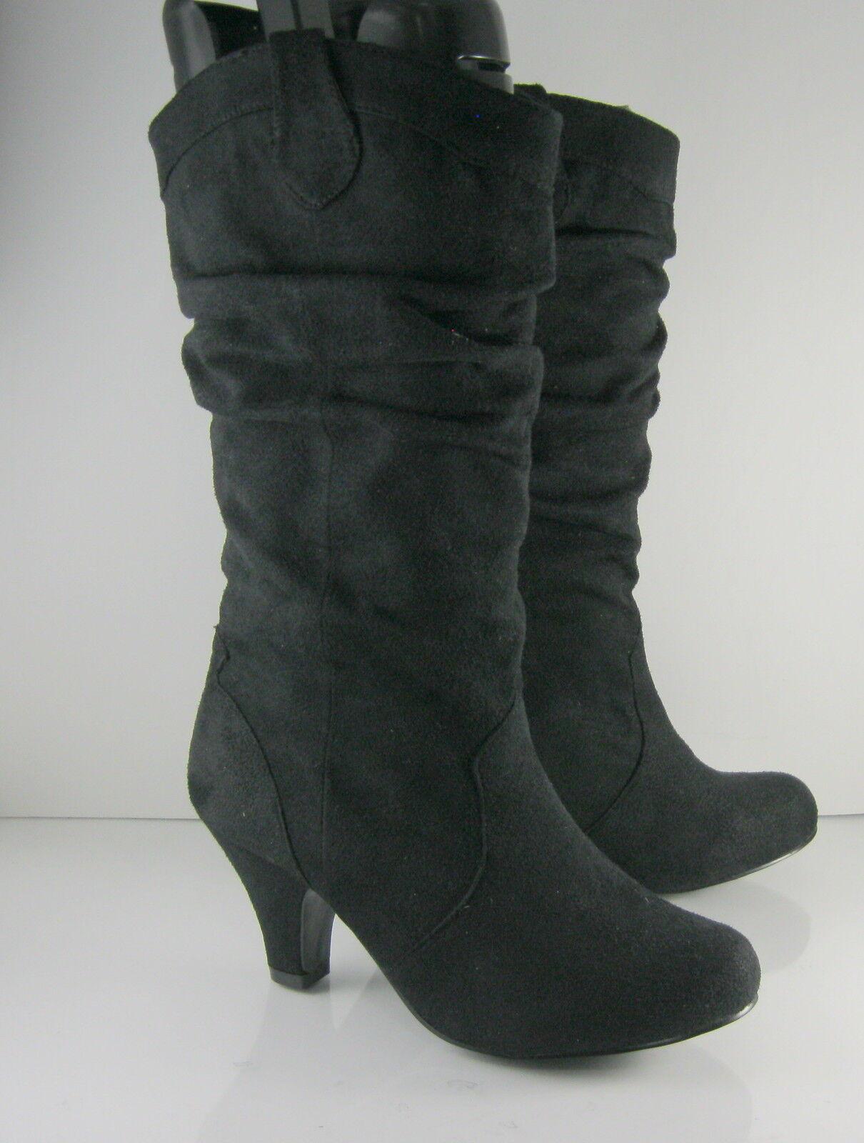 """NEW LADIES Black 2.5"""" Heel Round Toe  Sexy Mid-Calf Boot Size 8"""