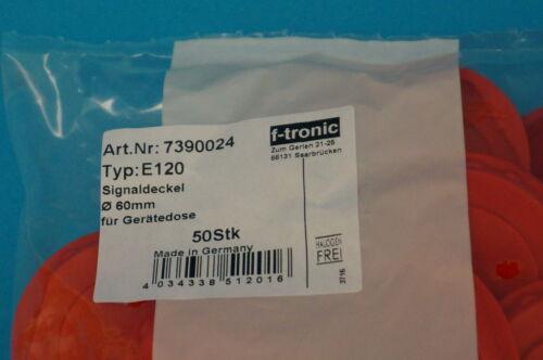 50 Stück Signaldeckel Putzdeckel rot für Schalterdosen mit einem Ø von 60mm