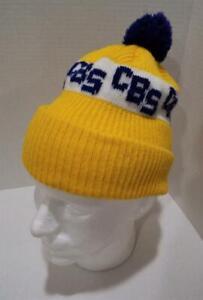 a4bdd89f31ab9 CBS Ski Cap Winter 80s SKI Knit Stocking Cap Hat Yellow w Pom Pom ...