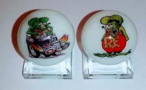 "Set of 2 Rat Fink 1/"" Glass Logo Marble With Stands"