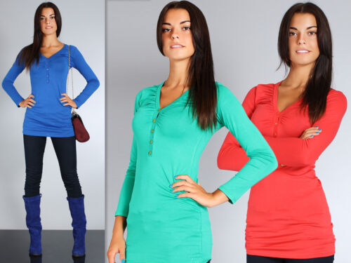 Women/'s Casual Top With Buttons V Neck Blouse Shirt Tunic Jumper Sizes 8-18 8161