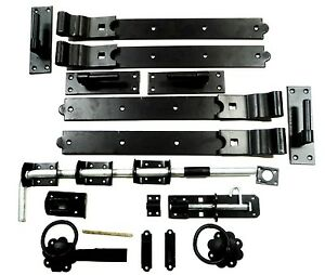 Gate Kit Fitting Hinges Double Garage Door 18 to 36 Inch Galv / Black Heavy Duty