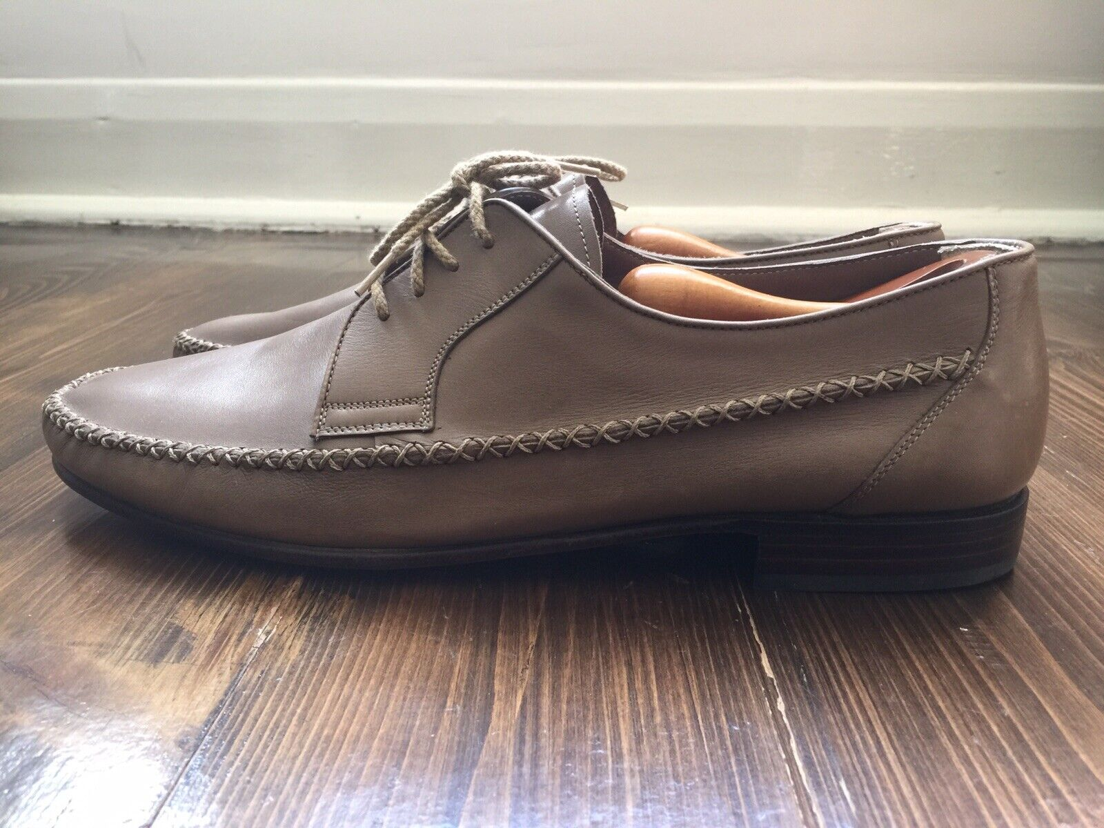 Vintage Bally Beverino Men's Lace Up Derby shoes In Taupe Size 11 Leather Sole