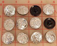 12 Vintage Silver Glass Shank Czech Buttons Flower Design 22mm 7/8 77