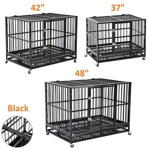 For-Strong-Dogs-37-034-42-034-48-034-Metal-Dog-Crate-Kennel-Folding-Pet-Cage-Playpen-Tray