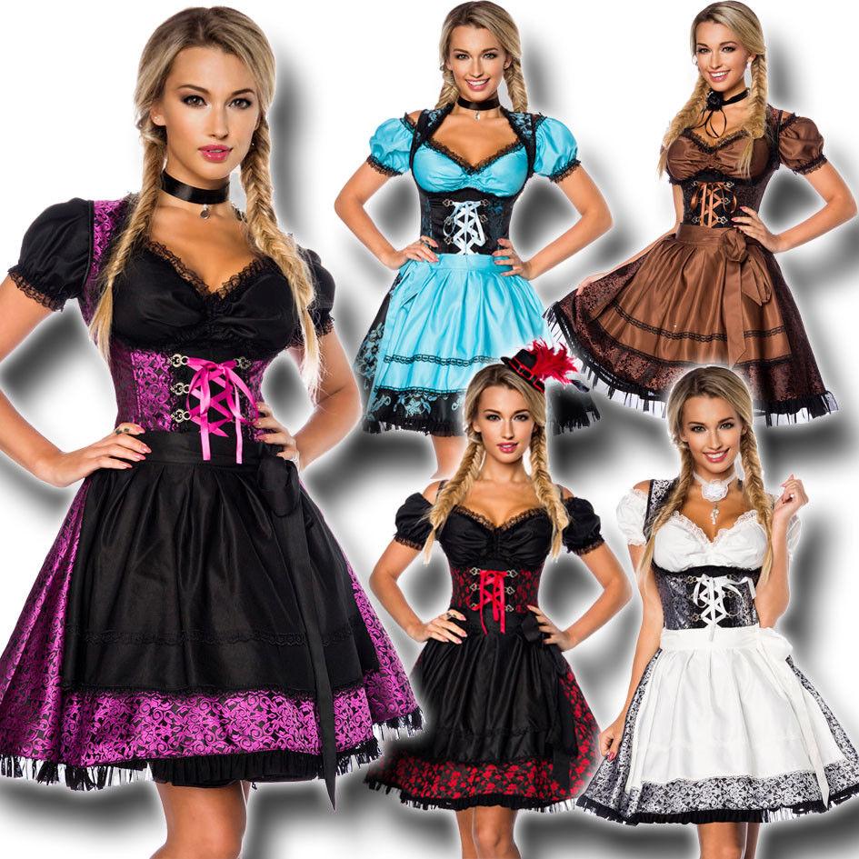 70000 Elegante Jacquard Dirndl & Camicia 3-tlg xs-3xl Oktoberfest Vestito Trachten