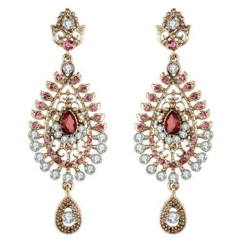 Longues boucles d/'oreilles Fashion Large Cristal Rose Indien Mariée Boucles D/'oreilles Bijoux or