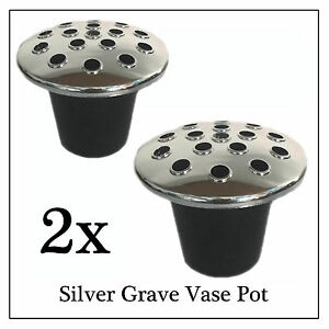 2x Silver Memorial Grave Flower Pot, Replacement Stem Water Holder ...