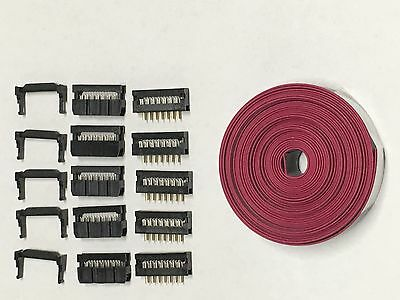 Flat Cable 14 Pins connector 6ft IDC Ribbon 2.54mm pitch and connectors 5sets