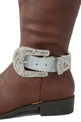 New Women Silver Belt Buckle Boot Bracelet Anklet Shoe  Charm Jewelry Blue Strap