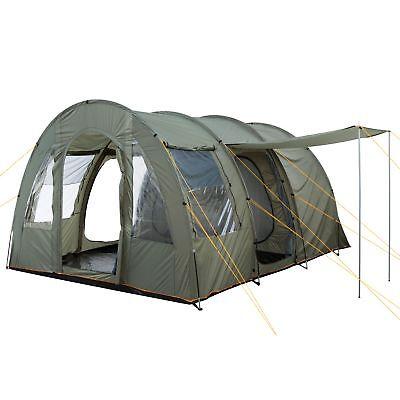CampFeuer Campingzelt Tunnelzelt 4 Personen Zelt | 5000 mm Wassersäule olivgrün