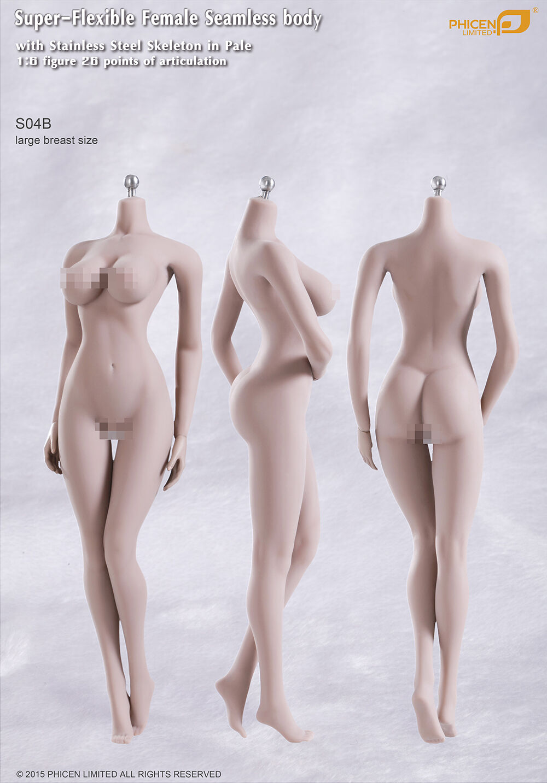 Phicen weibliche nahtlose körper s04b große brust edelstahl skelenton in pale