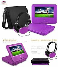 Portable DVD Player With Headphones And Bag Swivel LCD Display Travel Purple Kid