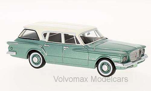 Wonderful modelcar  PLYMOUTH VALIANT STATION WAGON - vertmetallic blanc - 1 43