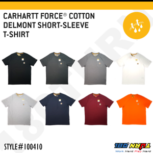 Carhartt-Men-039-s-Force-Cotton-Delmont-Short-Sleeve-T-Shirt-Relaxed-Fit-FastDry
