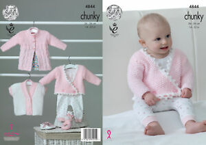 c91a6e411baa King Cole Baby Chunky Knitting Pattern Coat Short Sleeve Crossover ...