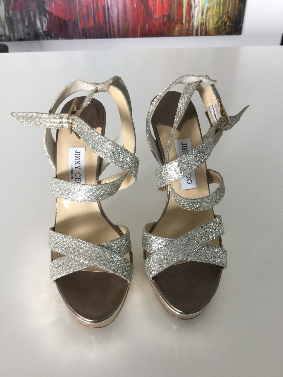 JIMMY CHOO Highheels Gold Glitzer in Gr. 39,5