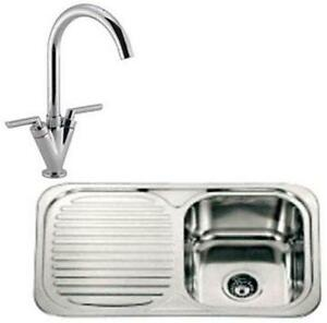 Single Bowl Stainless Steel Inset Kitchen Sink & Chrome Mixer Tap ...