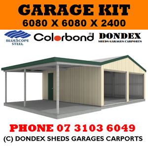 DONDEX SHEDS Double Garage Shed Kit 6x6x2.4 + 3.0m wide awning ...