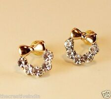 Lovely Brief Alloy Created simulated diamond Bownot Earrings