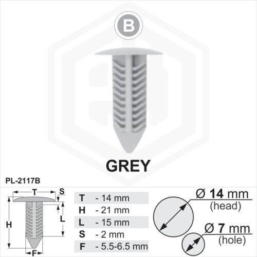 50 x Grey Plastic Fir Tree Trim Clips 7mm Hole 14mm Head Car Van Panel Fastener