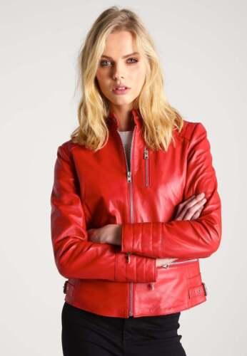 M Xs Véritable D'agneau Veste Rouge S Taille Femmes Cuir Moto Cuir Biker Xl L En Nouveau P1O4n0xHn