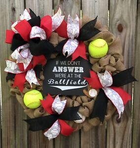If We Don T Answer We Are At The Ballfield Baseball Softball Burlap