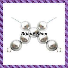 set di 50 perline Boemia in vetro perlato 10mm colori disponibili Grigio argento
