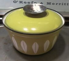 "Vintage Cathrineholm Enamelware Lotus 6"" Pot w Lid Avocado Green MCM VGUC"