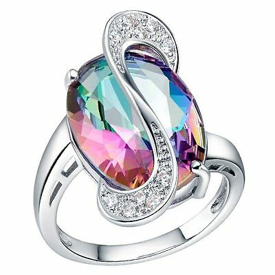 new beautiful Pretty Fashion sterling Silver color Austria Crystal Ring J925460