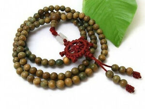 Fragrant 108 8mm Green Sandalwood Prayer Bead Dharma Wheel Mala Necklace 32""