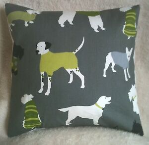 Designer-16-034-Shabby-Lime-Green-amp-Grey-Dogs-Poodle-Terrier-Chic-Cushion-Cover