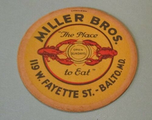 1930's Miller Bros. Seafood Restaurant Beer Coaster Baltimore Maryland Lobsters