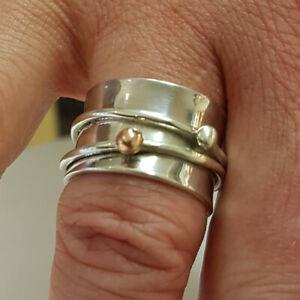 Sólido de plata esterlina 925 Anillo Anillo hecho a mano Anillo intranquilo Spinner Todas las Tallas AM-123