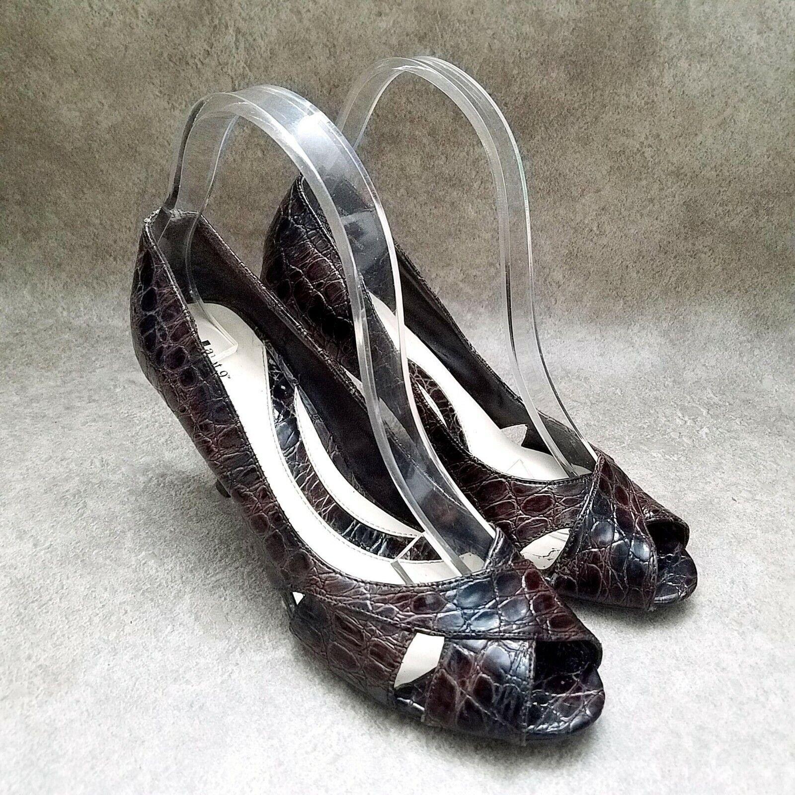 Apt. 9 Womens Kendall Size 7.5 Brown Peep Toe Croc Print 3