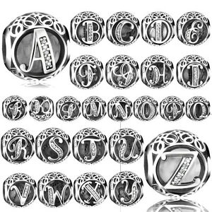 26-Letters-European-Silver-CZ-Charm-Beads-Fit-Sterling-925-Bracelet-Chain-Bangle