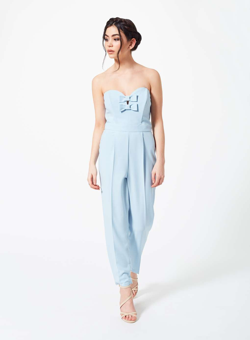 Boohoo Petite Bow Front Jumpsuit Colour Pale bluee Size 6 (UK) Box17 02 J
