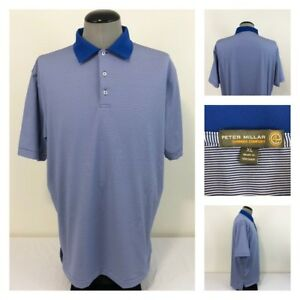 Peter-Millar-E4-Summer-Comfort-Mens-XL-Golf-Polo-Blue-White-Striped-Shirt