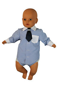 Hemd Baby Junge Kinder Kind Taufe Body Hemd Hochzeit Anzug Body, 2tlg, Blau-Weiß